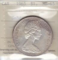 1965 ICCS MS65 $1 SMBDS PTD 5  TYPE 1 SMALL BEADS POINTED 5  SILVER DOLLAR 2 CA