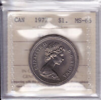 1977 ICCS MS65 $1  DETACHED JEWEL SHORT WATER LINE DJ SWL  CANADA ONE DOLLAR NIC
