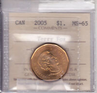 2005 ICCS MS65 $1 TERRY FOX  FULL GRASS  CANADA ONE DOLLAR LOONIE