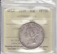 1899 ICCS VF30 50 CENTS WIDE 9S NEWFOUNDLAND NFLD NF FIFTY SILVER HALF DOLLAR