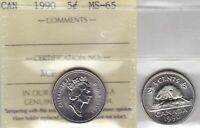 1990 ICCS MS65 5 CENTS CANADA FIVE NICKEL