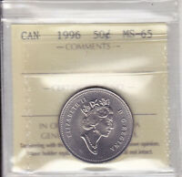 1996 ICCS MS65 50 CENTS CANADA FIFTY HALF DOLLAR