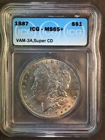 1887 ICG MINT STATE 65 VAM 3A SUPER CD CLASHED N, T LDS MORGAN SILVER DOLLAR