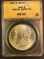 1887 P MINT STATE 63 VAM 3A SUPER CD CLASHED OBVERSE N,T, REVERSE M MORGAN SILVER DOLLAR