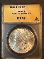 1887 P MINT STATE 62 VAM 3A SUPER CD CLASHED OBVERSE N,T, REVERSE M MORGAN SILVER DOLLAR