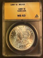 1887 P MINT STATE 63 VAM 19A  FAR SLANTED DATE DOUBLED EAR MORGAN SILVER DOLLAR