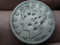 1909 LIBERTY HEAD V NICKEL 5 CENT PIECE- FINE DETAILS
