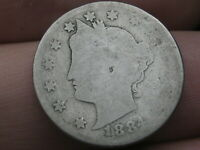 1884 LIBERTY HEAD V NICKEL 5 CENT PIECE- AG DETAILS
