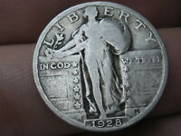 1928 P SILVER STANDING LIBERTY QUARTER, VG DETAILS