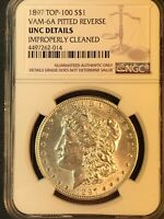 1897 P UNC VAM 6A PITTED REVERSE TOP 100 MORGAN SILVER DOLLAR