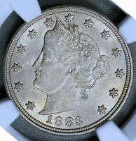 1883 5C LIBERTY V NICKEL WITH CENTS NGC MINT STATE 62 BU UNC MS EARLY US TYPE