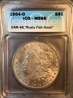 1904 O ICG MINT STATE 66 VAM 4B RUSTY FISH HOOK HITLIST 40 AND SUPER CD MORGAN SILVER DOL