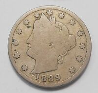 UNITED STATES 1889 FIVE CENTS G  DATE EARLY LIBERTY USA 5 V NICKEL COIN