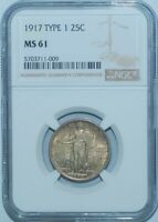 1917 NGC MINT STATE 61 T1 TYPE 1 STANDING LIBERTY QUARTER 25C