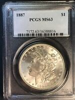 1887 P PCGS MINT STATE 63 VAM 1K EROSION BAND 18 AND CLASH MORGAN SILVER DOLLAR
