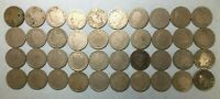 ROLL OF 40 MIXED DATE V NICKELS INCLUDING 1894, 2 X 1891 & 2 X 1889 COINS CO363