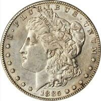1885-S MORGAN DOLLAR PCGS AU-50 BETTER DATE-LY TONED