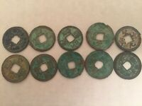 10 DIFFERENT ANCIENT CHINESE COINS SONG DYN. 1000 YRSOLD