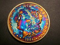 AUTHENTIC 1884 P MORGAN DOLLAR - SILVER COIN - ELECTRIC RAINBOW TONING M-17