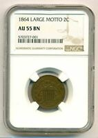 1864 SHIELD TWO CENTS LARGE MOTTO AU55 BN NGC