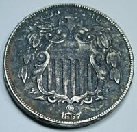 1867 VF-EXTRA FINE  DETAIL U.S. SHIELD NICKEL 5 CENT VINTAGE OLD US ANTIQUE COIN MONEY