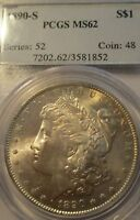 1890-S MORGAN SILVER DOLLAR MINT STATE 62 PCGS