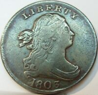 1803 DRAPED BUST HALF CENT ROTATED DIE  FINE C-3 VARIETY 92,000 MINTED VF