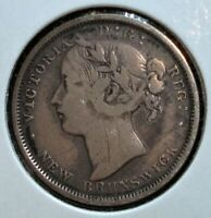 1864 SILVER 20 CENTS COIN FROM NEW BRUNSWICK CANADA RARER LO