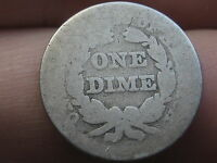 1840-1859 SEATED LIBERTY SILVER DIME WITH DRAPERY