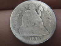 1841 P SEATED LIBERTY SILVER DIME
