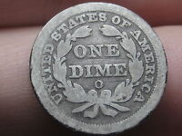 1850 O SEATED LIBERTY SILVER DIME- GOOD/VG REVERSE DETAILS