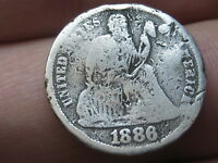 1886 S SEATED LIBERTY SILVER DIME