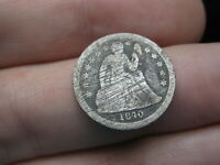 1840 SEATED LIBERTY SILVER DIME- WITH DRAPERY, GOOD DETAILS