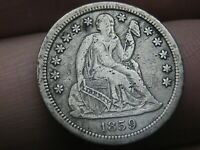 1859 O SEATED LIBERTY DIME- EXTRA FINE  DETAILS