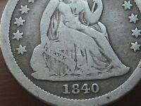 1840 SEATED LIBERTY SILVER DIME- WITH DRAPERY- VG/FINE DETAILS
