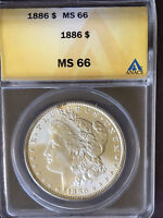SPECTACULAR FROSTY HIGH LUSTER 1886 MINT STATE 66 VAM 1 CLOSED 6 MORGAN SILVER DOLLAR