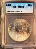 1885 ICG MINT STATE 63 VAM 23A SUPER CD FAR DATE, CLASHED OBVERSE N, MORGAN SILVER DOLLAR