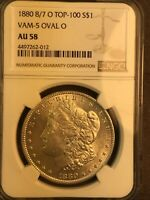 1880 8/7 O NGC AU58 VAM 5 OVAL O TOP 100 MORGAN SILVER DOLLAR