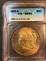 1880 S ICG MINT STATE 65 VAM 11 0/9 OVERDATE HOT 50 LY TONED MORGAN SILVER DOLLAR