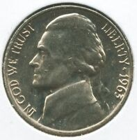 1963 UNCIRCULATED  JEFFERSON NICKEL 5 CENT COIN
