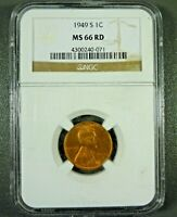 1949-S LINCOLN CENT MINT STATE 66 RD NGC