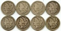 LOT OF 8 DIFFERENT S MINT MORGAN SILVER DOLLARS | 1885-1904-S | G-FINE DETAILS
