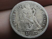 1883 P SEATED LIBERTY SILVER DIME, VG DETAILS