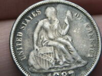 1887 SEATED LIBERTY SILVER DIME- LOVE TOKEN, MAGGIE