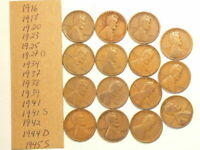 1916 TO 1945S US WHEAT CENTS LOT OF 15 NO DUPLICATES 4472