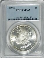 1890-S  MORGAN DOLLAR PCGS MINT STATE 65