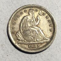 1838 SEATED LIBERTY 10C DIME LARGE STARS, NO DRAPERY UNC