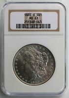1885 O MORGAN SILVER UNC DOLLAR CERTIFIED NGC AS MINT STATE 63 ONE DOLLAR US TYPE COIN