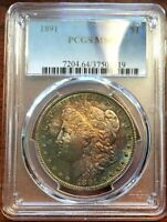 COLORFULLY-TONED NEAR GEM 1891 MORGAN SILVER DOLLAR / PCGS PRICE GUIDE $450