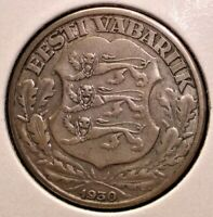 1932 SILVER 2 KROONI COIN FROM ESTONIA RARER ONLY 100K MINTE